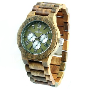New Arrived 100% Hand made Wooden Watch Custom Green Sandalwood Watches Man