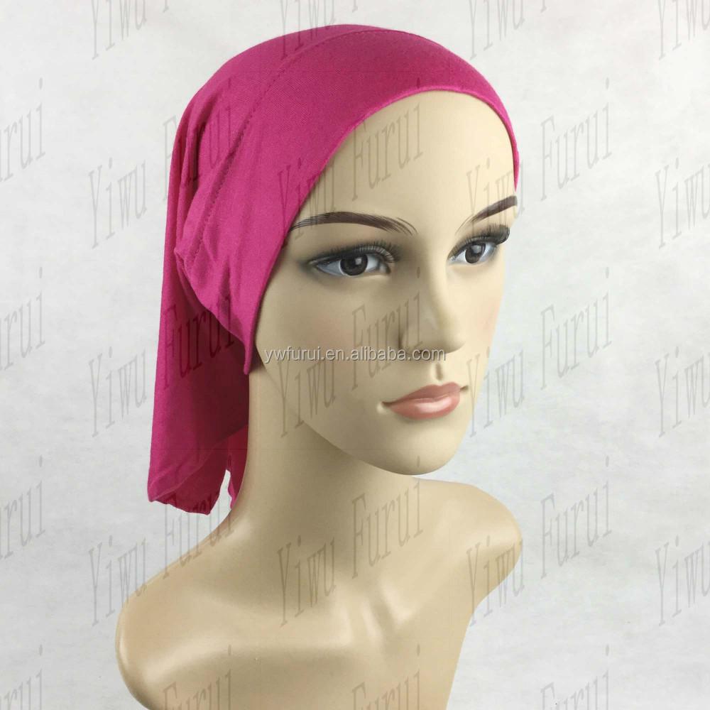 Nouveau Style Élastique Musulman Solide couleur Foulard Plaine Hijab  Intérieure Cou Tube Cap Bonnet Islamique Malaisie
