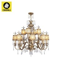 Wrought iron rustic oriental chandelier lighting with lampshade