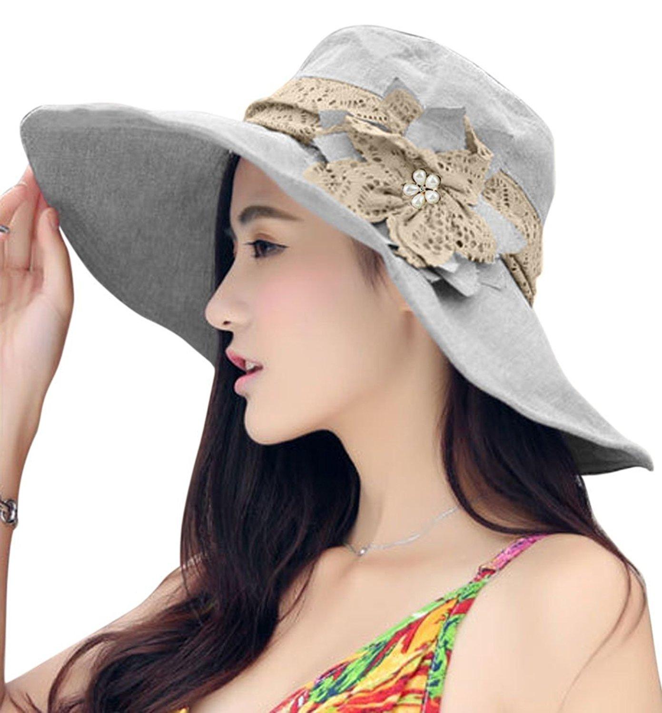 5a48a1da5ce FakeFace Womens Summer Wide Brim Sun Hats Foldable Beach UV Protection Bucket  Hats
