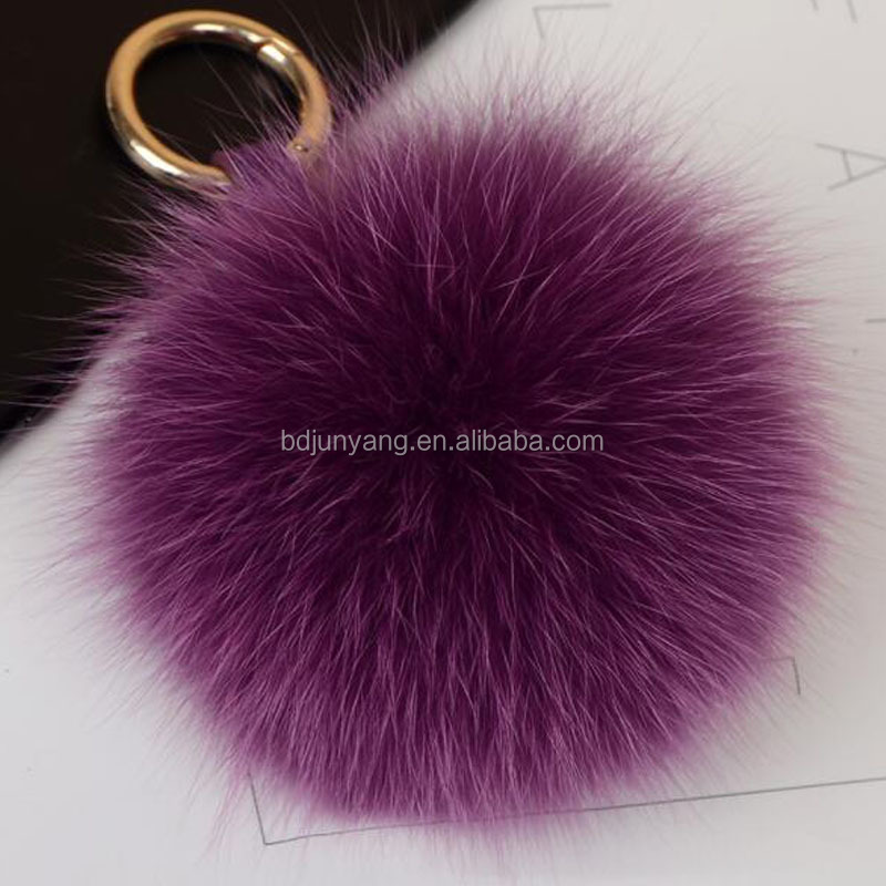 Luxury 15cm big real <strong>fox</strong> <strong>fur</strong> <strong>ball</strong> <strong>keychain</strong> with alloy strap
