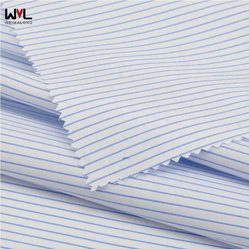 High quality woven yarn dyed stripe poplin fabric in shirt