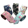 Wholesale fashion floral printed 100% cotton tie casual necktie for men