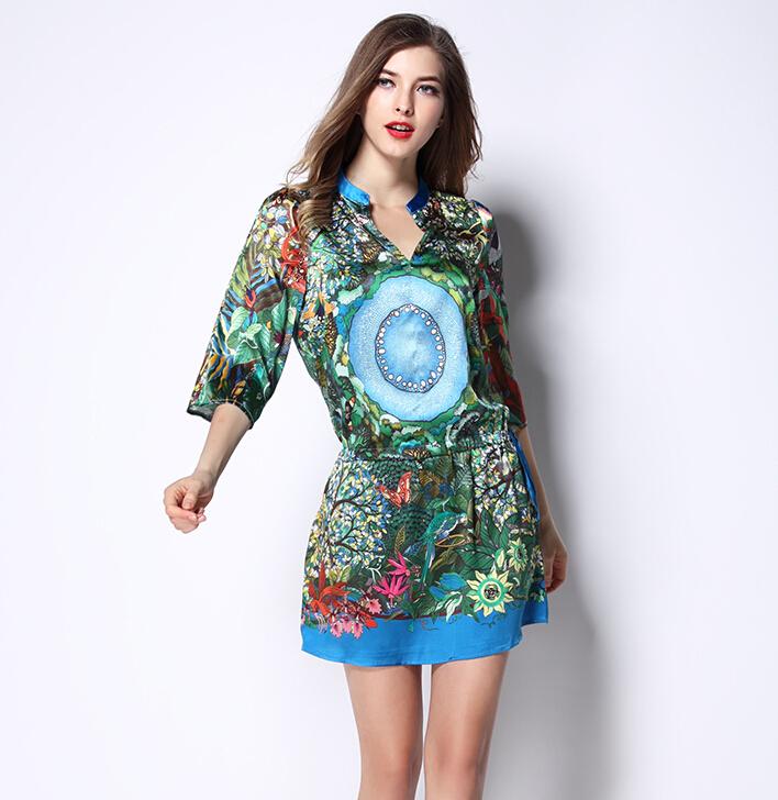 75c26992977 Get Quotations · New 2015 women summer runway fashion casual Dresses  elegant flower Prints designer Dresses bright A-
