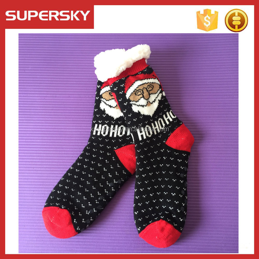 C138 Christmas santa slipper socks fluffy fleece lined knitted socks