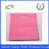 LDPE print white polka dots die cut plastic shopping carrier bag for clothing store