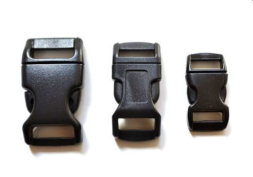 "60 - 5/8"", 1/2"", & 3/8"" Black Side Release Buckles (20 Each) For Paracord Bracelets"