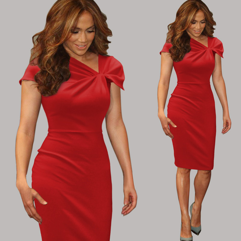 cd0ebf88ef0 New 2017 Womens Celebrity Elegant Vintage Pinup Bow Ruched Tunic Business  Casual Cocktail Party Prom Bodycon Dress