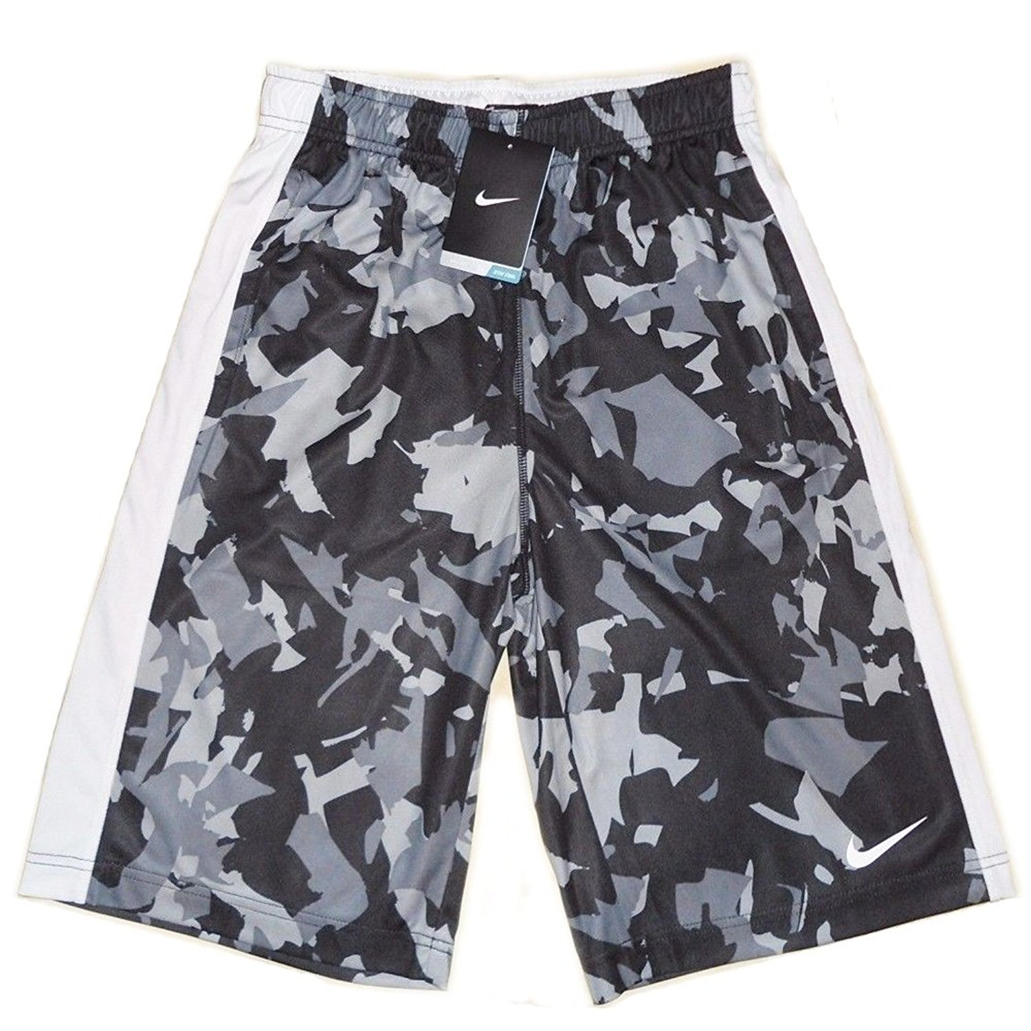 3c500de00c Get Quotations · Nike Youth Boys Fly Allover Print Graphic Shorts Grey Black