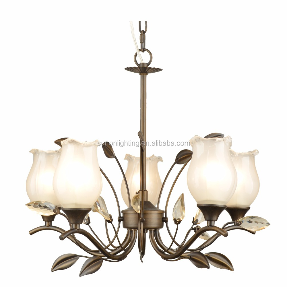 New crystal iron chandelier with glass shade for bedroom clothing store
