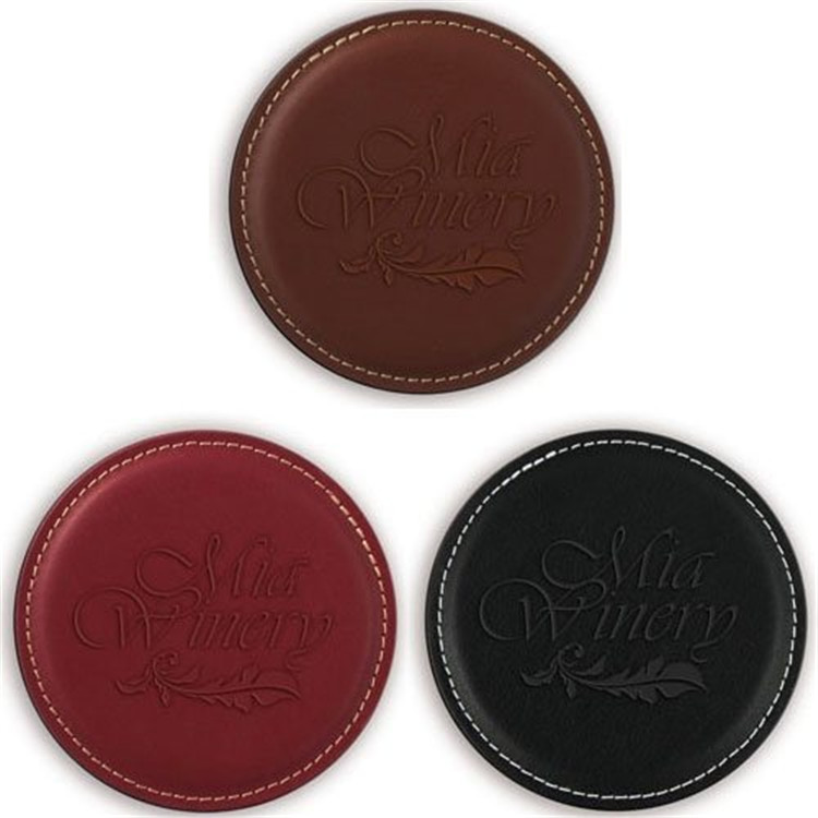 Mats & Pads Table Decoration & Accessories Type and Eco-Friendly fashion round shape coaster,leather cup coaster