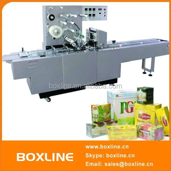 Automatic tea box cellophane packaging machine