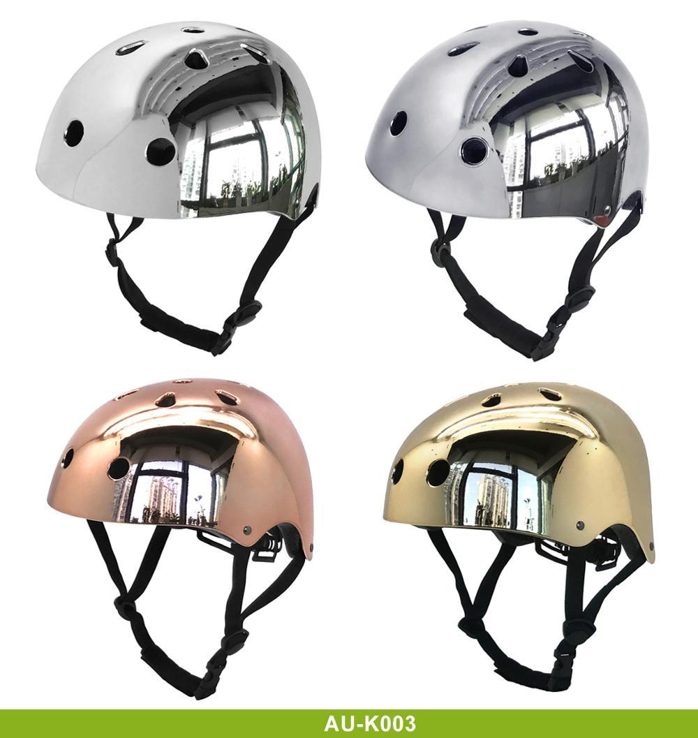 Electroplate-rose-gold-cycle-skate-helmet