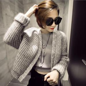 Autumn and winter new south Korean women's wear bright silk 100 set thick waist mixed color wool sweater short coat card
