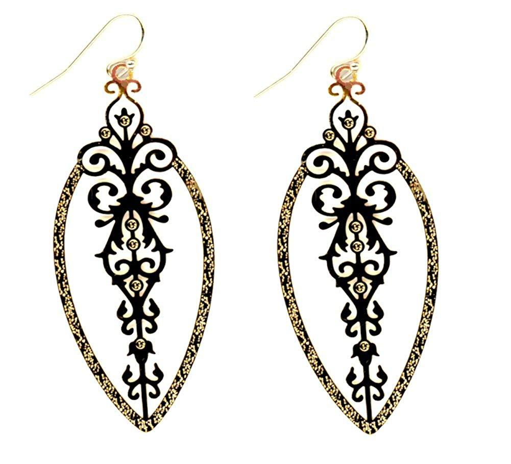 Gold-tone Lightweight Textured Filigree Sleek Modern Drop Metal Cut-out Earrings