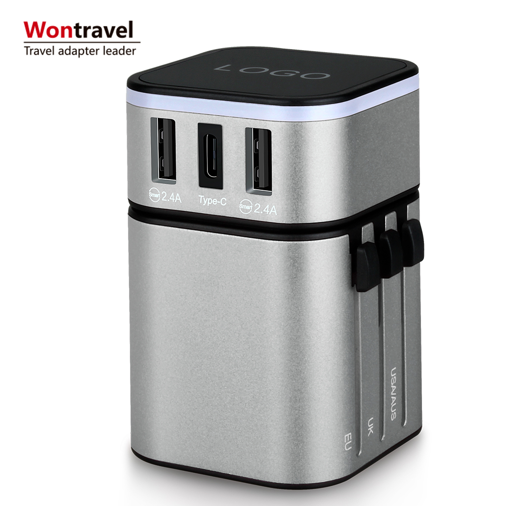Usb-poort 3.4A world travel adapter Type C adapter travel charger plug relatiegeschenk internationale reizen adapter