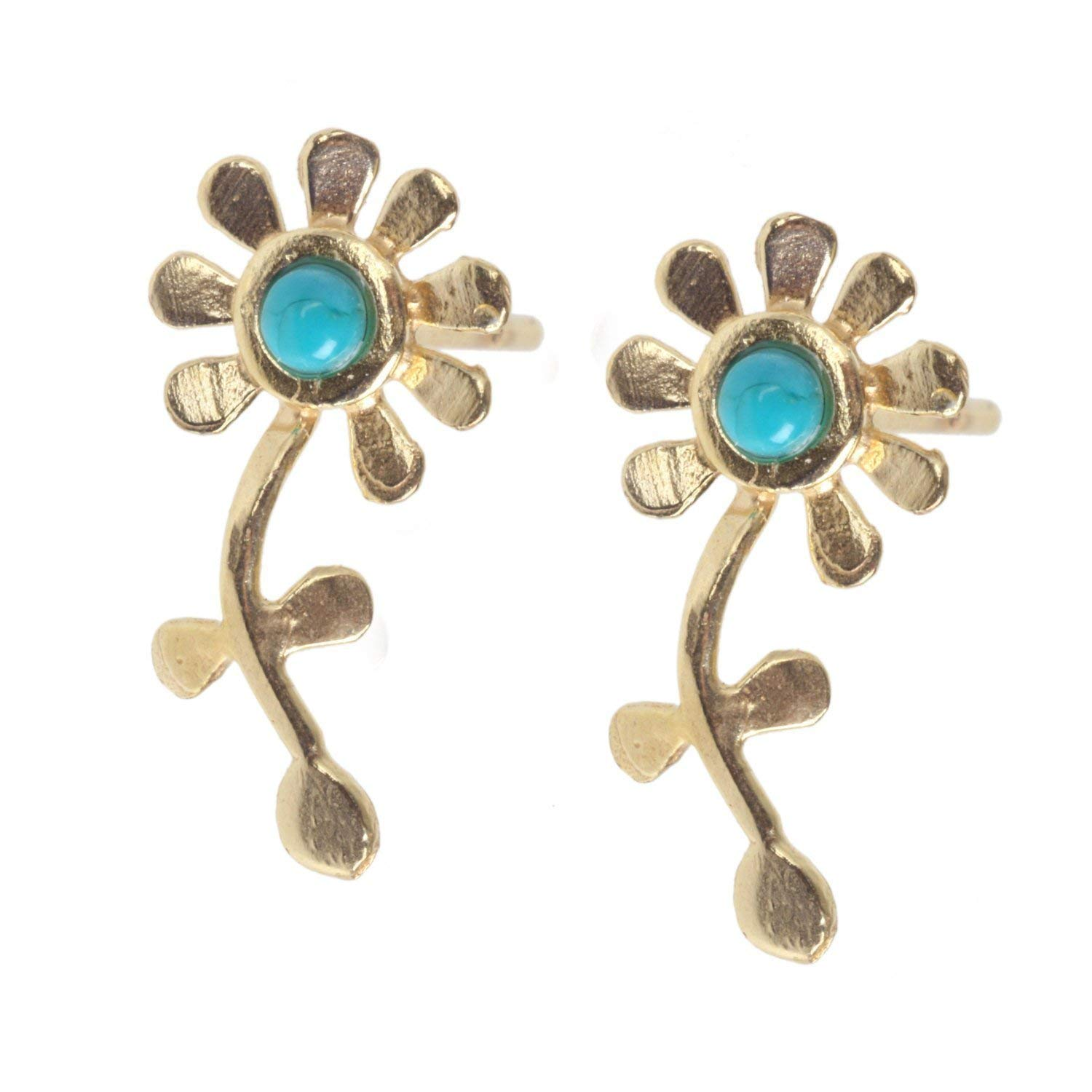 Flower Ear Cuff, Handmade Ear Sweep Stud Earring inlaid with Colorful Gemstone, Available in 14K Gold Plated Brass or Sterling Silver