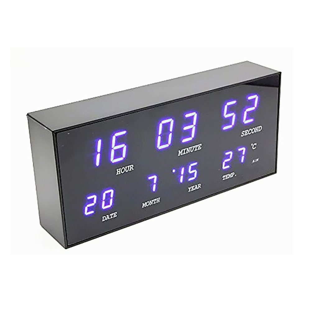 Smileto Mini Multi-Type LED light-emitting Diode Digital Clock With LED Blue Light, Jumbo 24 Hour, Calendar / Date / Month / Year / Thermometer / Temperature Display