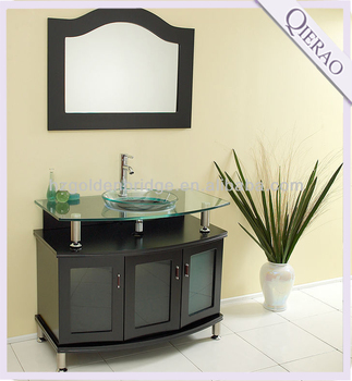 Qierao Modern Irregular Shape And Curved Wood Bathroom Vanity Funiture Qi 1015
