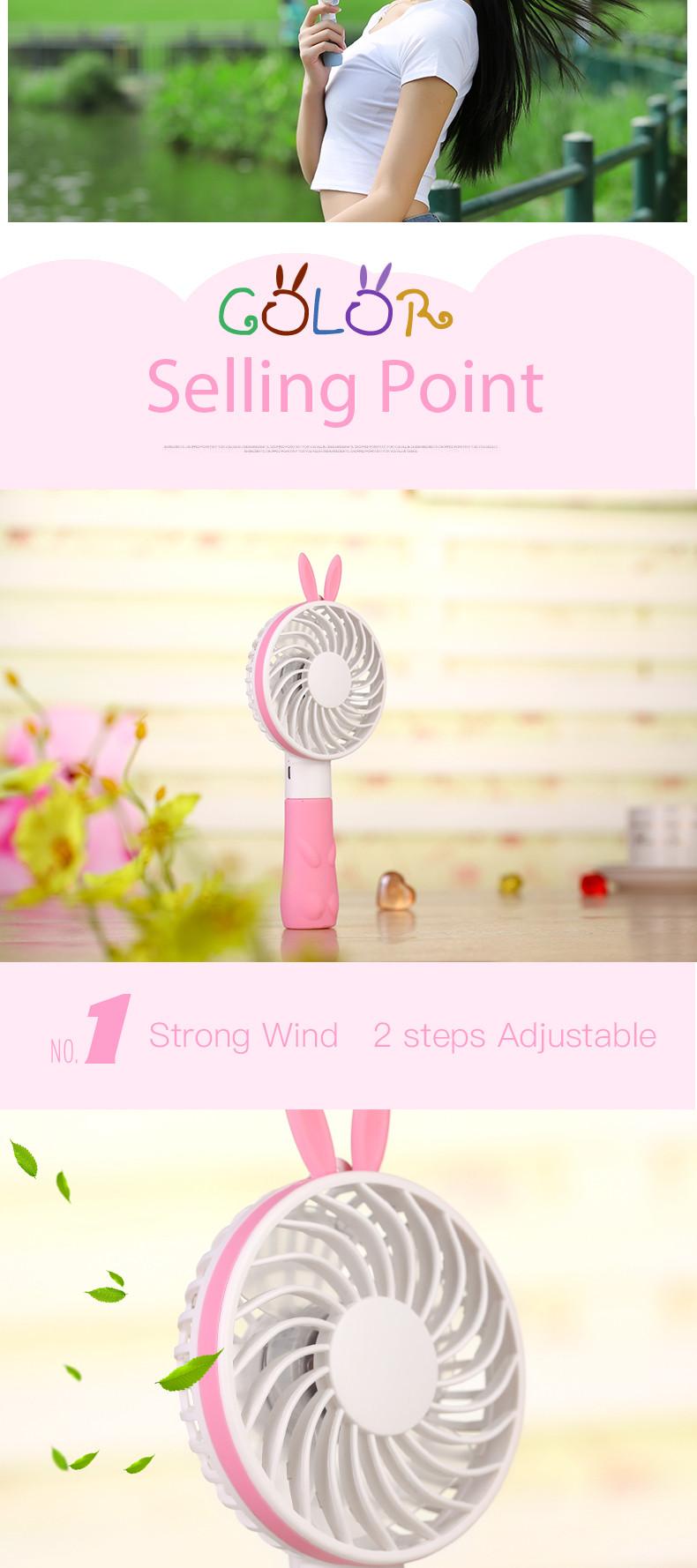 Portable 2 in 1 usb mini fan Motor Better for baby cute rabbit ears handheld mini fan rechargeble battery