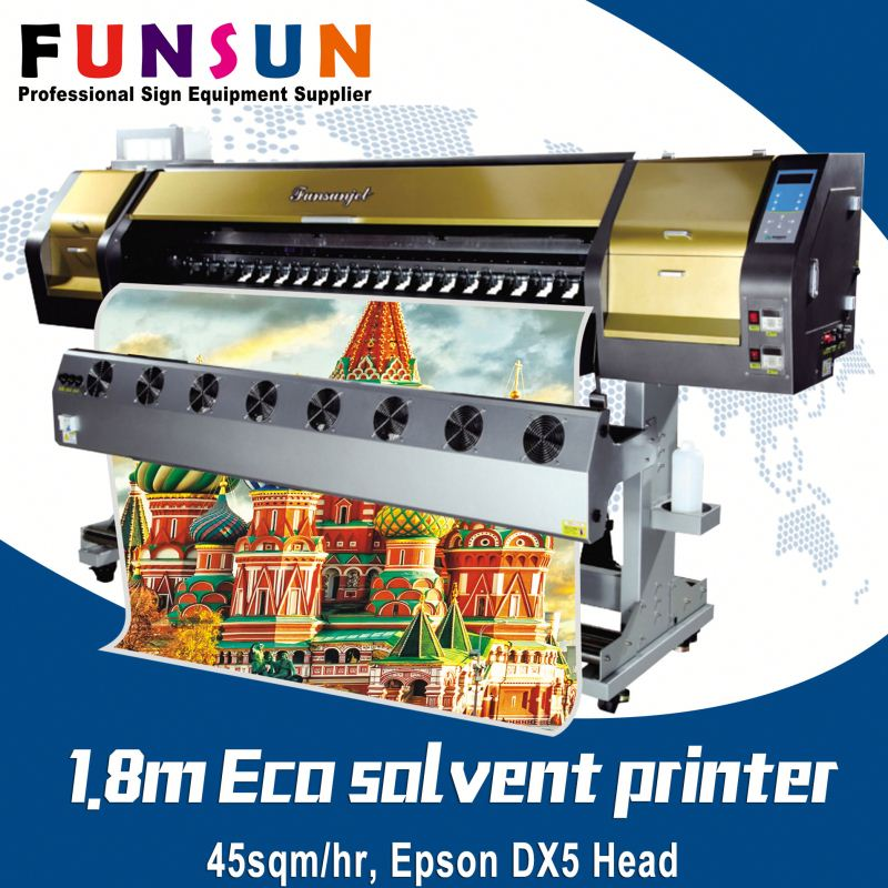 Funsunjet FS-1802G 1.8m 1440dpi DX5/7 head hotsell eco solvent piezo electric printer ink