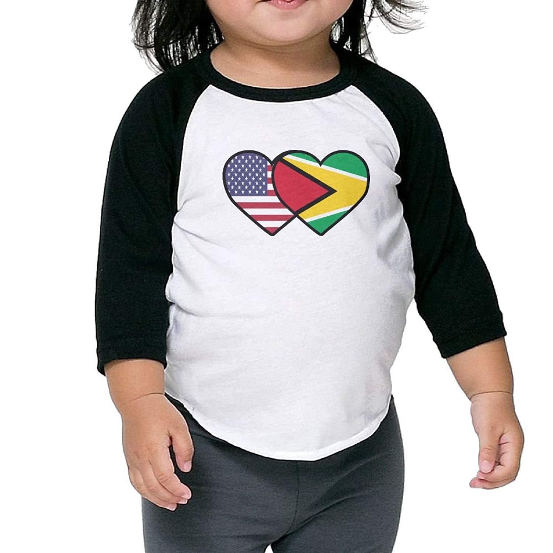 Guyana USA Flag Twin Heart Baseball Jersey Boys Girls Tee 3/4 Sleeves Raglan Toddler Shirt
