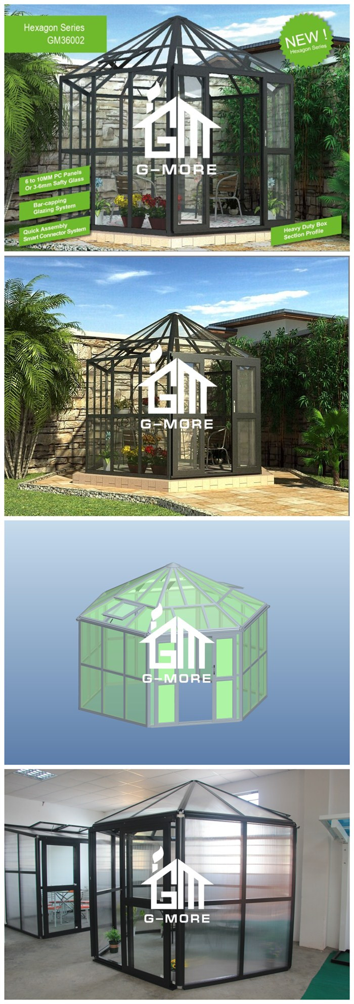 G-MORE Latest New Style Luxury Hexagonal Glass house (GM36001)