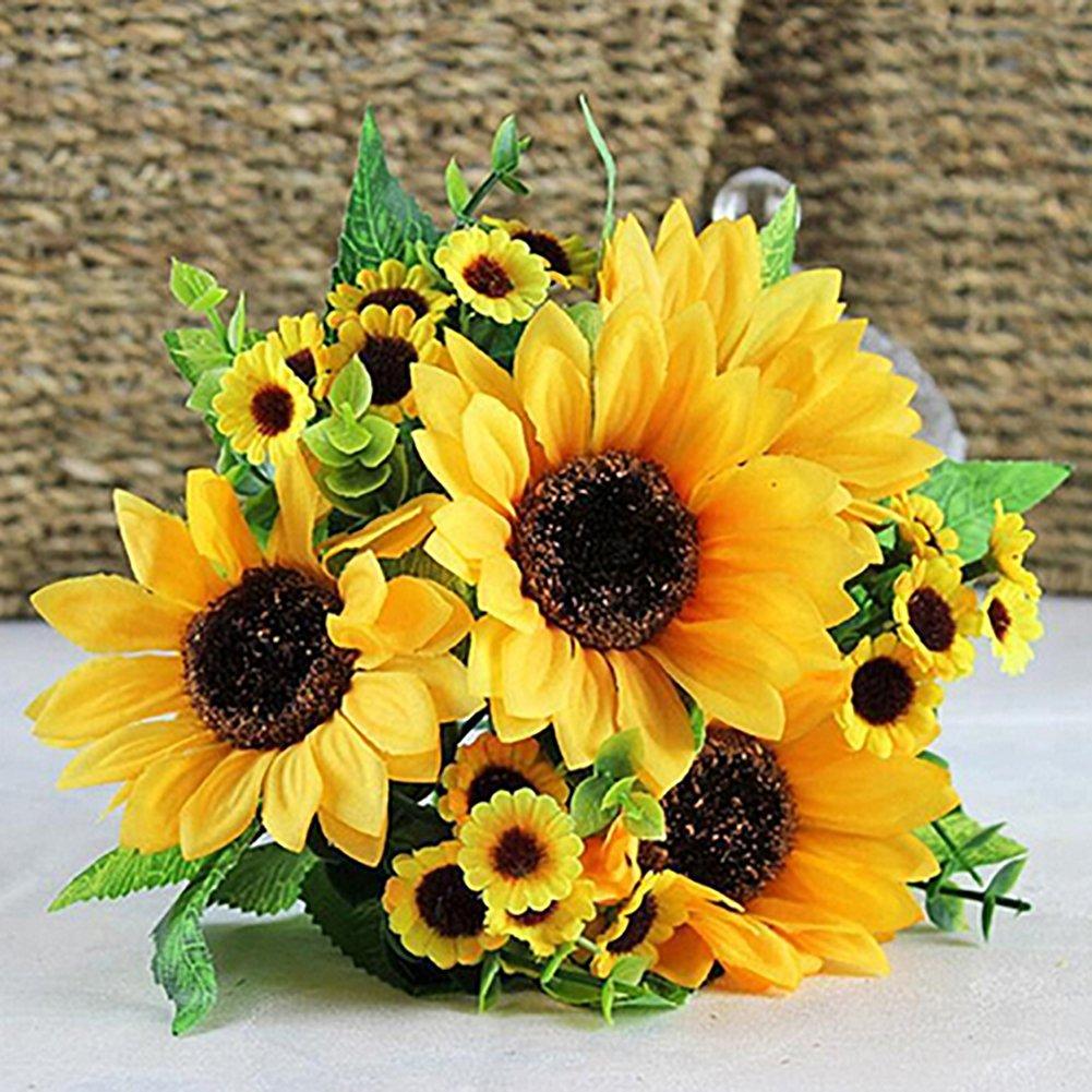 Cheap wedding decoration sunflower find wedding decoration get quotations acamifashion 1 bouquet artificial silk sunflower 7 stems flowers for home decoration wedding decor junglespirit Gallery