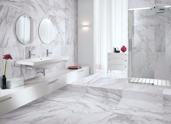 Full Polished Volakas Whites Home Design Bathroom Floor
