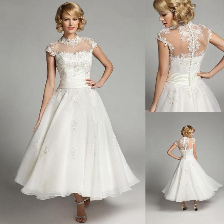 Short Sleeve Simple Wedding Dress: Simple Romantic Bridal Dresses Robe De Mariage High Neck