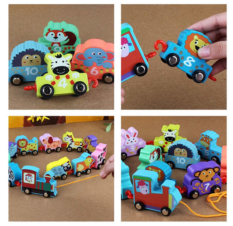 Children Gift Custom Originality Design Vehicle Magnetic Bread Cartoon Animal Small Train Wood Toy