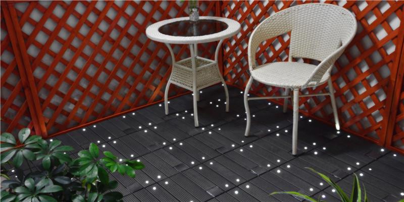 outdoor Solar Light WPC interlocking Tile DIY Decking Tile