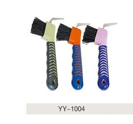 Colorful horse hoof pick with brush