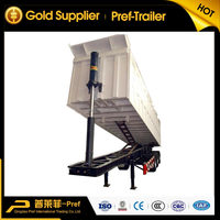 Steel material 11m 3 axles former 100 ton dump trailer with HYVA hydraulic cylinder/rear tipping truck trailers for sale