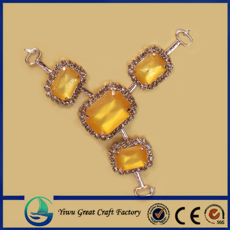 shoes ornaments crystal yellow acrylic shoes accessories chain for women