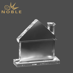 Wholesale Crystal Craft Gifts Optical House-Shaped Award And Trophy
