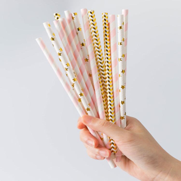 Groothandel custom gedrukt papier rietjes biologisch afbreekbare Feestartikelen Bar Accessoires tarwe drinken papier stro