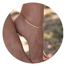 New Design Women 제 우미 Anklets 은 14 천개 <span class=keywords><strong>금</strong></span> 작성 후 Boho <span class=keywords><strong>인도</strong></span> Beach 발 Chain 조절 Anklet 보석