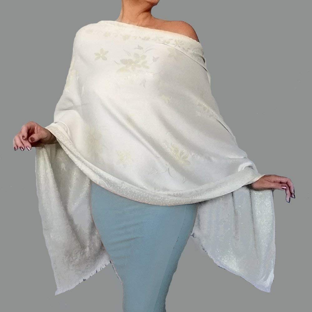 b75c43a2286 Get Quotations · Plus Size Ivory Stole Metallic Gold Wedding Shawl Wrap by  ZiiCi