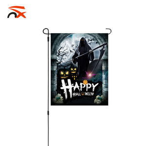 double layers 300D polyester customized happy Halloween garden flag with garden flag stand