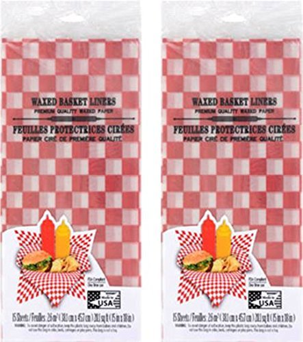 Red Checkered Restaurant Deli Basket Liners- Set of 30- Made in the USA