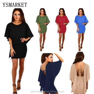 Summer New Women Sexy O-Neck Lace Up Dress Night Club Wear Backless Cape Cloak Sleeve Mini Dresses E6251 27