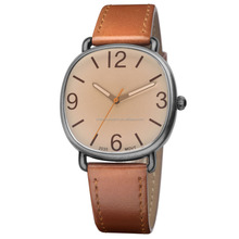 Geneva Unisex watch Sliver-Tone Square Oversized Watch Set with Brown Leather Strap watch