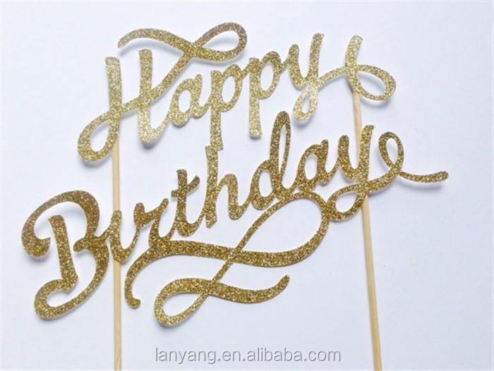 Gold Happy Birthday Cake Topper Fancy 1st Birthday Cutout Letter