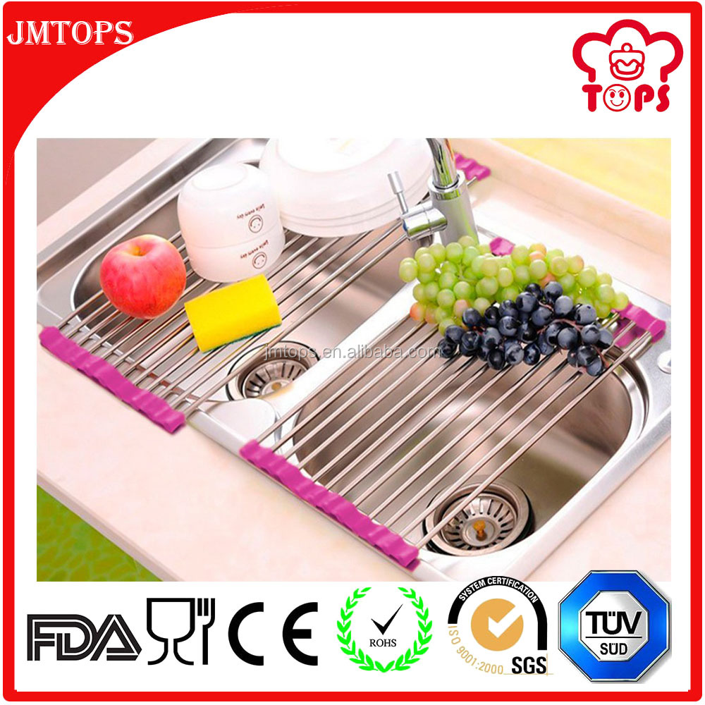 Over the Sink Roll-up Dish Drying Rack Silicone Coated Stainless Steel Over Sink Rack