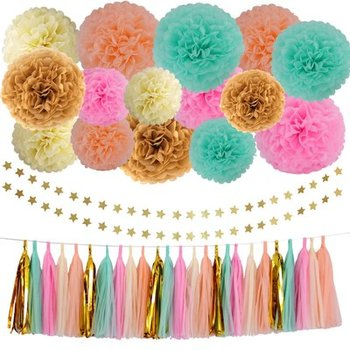 Wholesale Birthday Parties Baby Shower Wedding Decorations Paper Flower Ball String Tassel