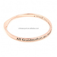 Original personalised phrase grandmother rose gold plated message bangles and bracelets
