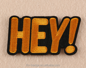 "Logo customWord ""HEY"" Patch sew On / Iron On DIY Patch Embroidered Applique,Wholesale letter HEY patches work blouse designs"