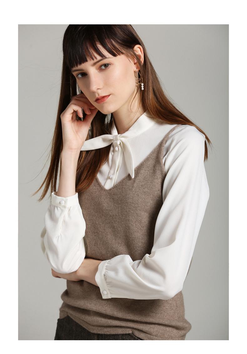 Plain v-neck sleeveless warm custom women sweater vest