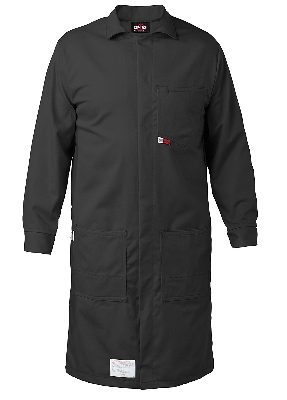 BLACK - MEDIUM - FR LAB COAT - 6oz. NOMEX III3 Flame Resistant Fabric - Lab or Classroom Ready - HRC 1 - APTV= 5.7 cal/m2 - MADE IN THE U.S.A.